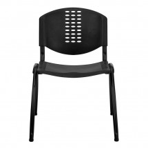 Flash Furniture RUT-NF01A-BK-GG HERCULES Series 880 lb. Capacity Black Polypropylene Stack Chair with Black Frame Finish addl-2