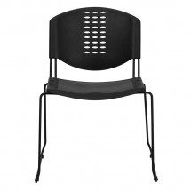 Flash Furniture RUT-NF02-BK-GG HERCULES Series 400 lb. Capacity Black Plastic Stack Chair with Black Powder Coated Frame Finish addl-2