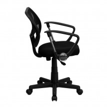 Flash Furniture WA-3074-BK-A-GG Mid-Back Black Mesh Task Chair with Arms addl-4