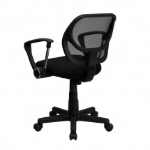 Flash Furniture WA-3074-BK-A-GG Mid-Back Black Mesh Task Chair with Arms addl-1