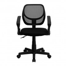 Flash Furniture WA-3074-BK-A-GG Mid-Back Black Mesh Task Chair with Arms addl-2