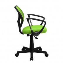 Flash Furniture WA-3074-GN-A-GG Mid-Back Green Mesh Task Chair with Arms addl-4
