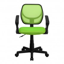 Flash Furniture WA-3074-GN-A-GG Mid-Back Green Mesh Task Chair with Arms addl-2