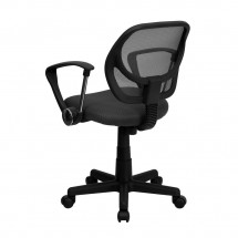 Flash Furniture WA-3074-GY-A-GG Mid-Back Gray Mesh Task Chair with Arms addl-1