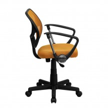 Flash Furniture WA-3074-OR-A-GG Mid-Back Orange Mesh Task Chair with Arms addl-4