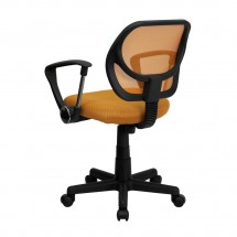 Flash Furniture WA-3074-OR-A-GG Mid-Back Orange Mesh Task Chair with Arms addl-1