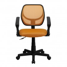 Flash Furniture WA-3074-OR-A-GG Mid-Back Orange Mesh Task Chair with Arms addl-2