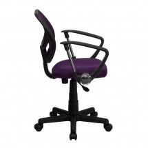 Flash Furniture WA-3074-PUR-A-GG Mid-Back Purple Mesh Task Chair with Arms addl-4