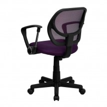 Flash Furniture WA-3074-PUR-A-GG Mid-Back Purple Mesh Task Chair with Arms addl-1