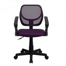 Flash Furniture WA-3074-PUR-A-GG Mid-Back Purple Mesh Task Chair with Arms addl-2
