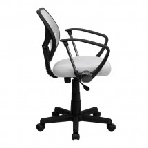 Flash Furniture WA-3074-WHT-A-GG Mid-Back White Mesh Task Chair with Arms addl-4