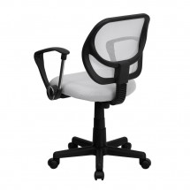 Flash Furniture WA-3074-WHT-A-GG Mid-Back White Mesh Task Chair with Arms addl-1