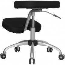 Flash Furniture WL-1425-GG Mobile Ergonomic Kneeling Chair in Black Fabric with Silver Powder Coated Frame addl-1