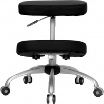 Flash Furniture WL-1425-GG Mobile Ergonomic Kneeling Chair in Black Fabric with Silver Powder Coated Frame addl-2