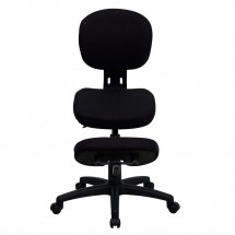 Flash Furniture WL-1430-GG Mobile Ergonomic Kneeling Posture Task Chair in Black Fabric with Back addl-2