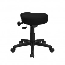 Flash Furniture WL-1620-GG Black Saddle-Seat Utility Stool with Height and Angle Adjustment addl-1