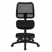 Flash Furniture WL-3425-GG Mobile Ergonomic Kneeling Task Chair with Black Curved Mesh Back and Fabric Seat addl-2
