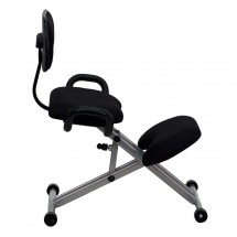 Flash Furniture WL-3439-GG Ergonomic Kneeling Chair in Black Fabric with Back and Handles addl-4