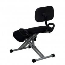 Flash Furniture WL-3439-GG Ergonomic Kneeling Chair in Black Fabric with Back and Handles addl-1