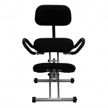 Flash Furniture WL-3439-GG Ergonomic Kneeling Chair in Black Fabric with Back and Handles addl-2