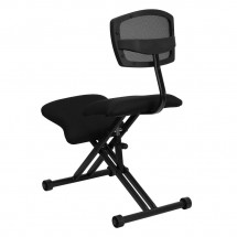 Flash Furniture WL-3440-GG Ergonomic Kneeling Chair with Black Mesh Back and Fabric Seat addl-1