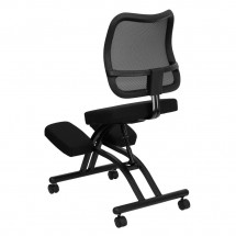 Flash Furniture WL-3520-GG Mobile Ergonomic Kneeling Chair with Black Curved Mesh Back and Fabric Seat addl-1