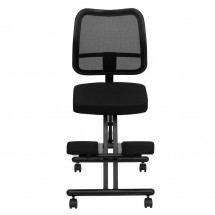 Flash Furniture WL-3520-GG Mobile Ergonomic Kneeling Chair with Black Curved Mesh Back and Fabric Seat addl-2