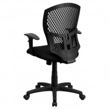 Flash Furniture WL-3958SYG-BK-A-GG Mid-Back Designer Back Task Chair with Padded Fabric Seat and Arms addl-1