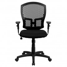 Flash Furniture WL-3958SYG-BK-A-GG Mid-Back Designer Back Task Chair with Padded Fabric Seat and Arms addl-2