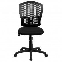 Flash Furniture WL-3958SYG-BK-GG Mid-Back Designer Back Task Chair with Padded Fabric Seat addl-2