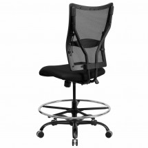 Flash Furniture WL-5029SYG-D-GG HERCULES Series 400 lb. Capacity Big and Tall Black Mesh Drafting Stool addl-1