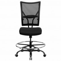 Flash Furniture WL-5029SYG-D-GG HERCULES Series 400 lb. Capacity Big and Tall Black Mesh Drafting Stool addl-2