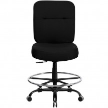 Flash Furniture WL-735SYG-BK-D-GG HERCULES Series 400 lb. Capacity Big and Tall Black Fabric Drafting Stool with Extra Wide Seat addl-2