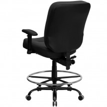 Flash Furniture WL-735SYG-BK-LEA-AD-GG HERCULES Series 400 lb. Capacity Big and Tall Black Leather Drafting Stool with Arms and Extra Wide Seat addl-1