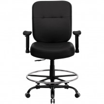 Flash Furniture WL-735SYG-BK-LEA-AD-GG HERCULES Series 400 lb. Capacity Big and Tall Black Leather Drafting Stool with Arms and Extra Wide Seat addl-2