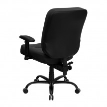 Flash Furniture WL-735SYG-BK-LEA-A-GG HERCULES Series 400 lb. Capacity Big and Tall Black Leather Office Chair with Arms and Extra Wide Seat addl-1