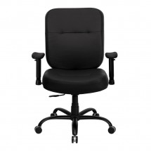 Flash Furniture WL-735SYG-BK-LEA-A-GG HERCULES Series 400 lb. Capacity Big and Tall Black Leather Office Chair with Arms and Extra Wide Seat addl-2