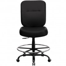 Flash Furniture WL-735SYG-BK-LEA-D-GG HERCULES Series 400 lb. Capacity Big and Tall Black Leather Drafting Stool with Extra Wide Seat addl-2