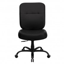 Flash Furniture WL-735SYG-BK-LEA-GG HERCULES Series 400 lb. Capacity Big and Tall Black Leather Office Chair with Extra Wide Seat addl-2