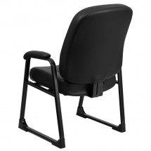 Flash Furniture WL-738AV-LEA-GG HERCULES Series Big and Tall 400 lb. Capacity Black Leather Executive Side Chair with Sled Base addl-1