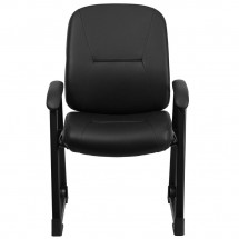 Flash Furniture WL-738AV-LEA-GG HERCULES Series Big and Tall 400 lb. Capacity Black Leather Executive Side Chair with Sled Base addl-2