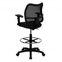Flash Furniture WL-A277-BK-AD-GG Mid-Back Mesh Drafting Stool with Black Fabric Seat and Arms addl-1