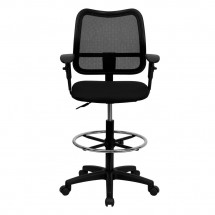 Flash Furniture WL-A277-BK-AD-GG Mid-Back Mesh Drafting Stool with Black Fabric Seat and Arms addl-2