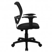 Flash Furniture WL-A277-BK-A-GG Mid-Back Mesh Task Chair with Black Fabric Seat and Arms addl-4