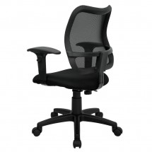 Flash Furniture WL-A277-BK-A-GG Mid-Back Mesh Task Chair with Black Fabric Seat and Arms addl-1