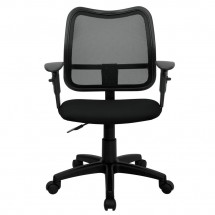 Flash Furniture WL-A277-BK-A-GG Mid-Back Mesh Task Chair with Black Fabric Seat and Arms addl-2