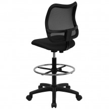 Flash Furniture WL-A277-BK-D-GG Mid-Back Mesh Drafting Stool with Black Fabric Seat addl-1