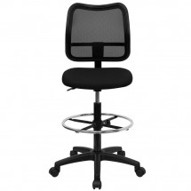 Flash Furniture WL-A277-BK-D-GG Mid-Back Mesh Drafting Stool with Black Fabric Seat addl-2