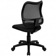 Flash Furniture WL-A277-BK-GG Mid-Back Mesh Task Chair with Black Fabric Seat addl-1
