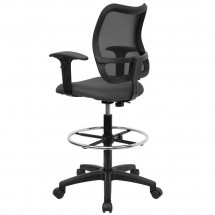 Flash Furniture WL-A277-GY-AD-GG Mid-Back Mesh Drafting Stool with Gray Fabric Seat and Arms addl-1